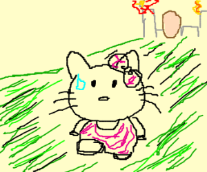 Hello Kitty running from a giant egg!