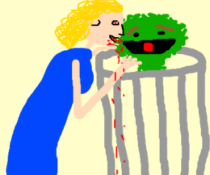 muppet lady feeds from oscar the grouch