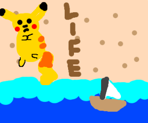 Pikachu. Sailboat. Life's a beach.