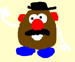 Mr. Potato Head is happy.