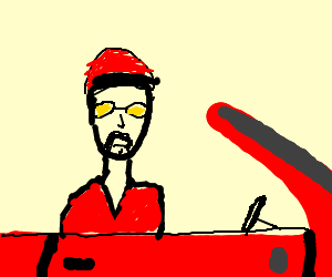 Ali G in a convertible
