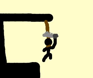 Stickman escaping his Hangman fate