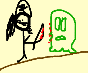 Naked pirate stabs alien