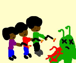 3 men with afros shooting alien.