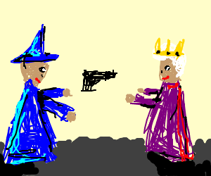 merlin gives a handgun to the queen