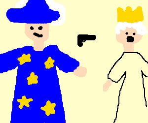 Wizard threatens Queen with floating gun