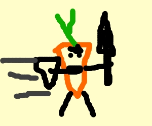 Carrot knight confidently enters battle