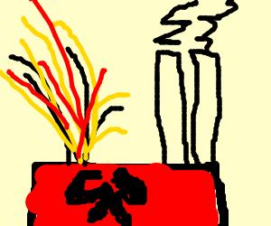 Exploding communist factory.