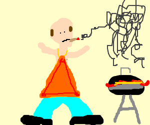 bald man smoking and wearing an apron