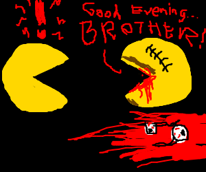 Pacman confronts his evil twin