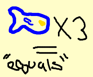 """3 fish fins and one fish equals """"equals"""""""