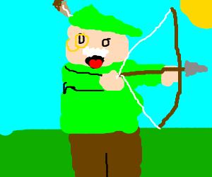 Monopoly guy dressed as Robin Hood