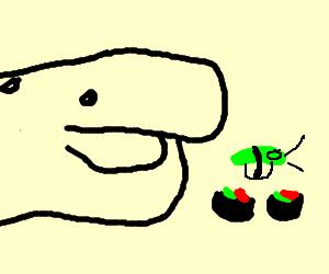whale eating plankton based sushi