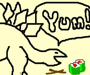 Dino eating Sushi
