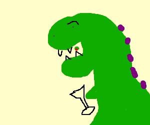 dinosaur eats an olive