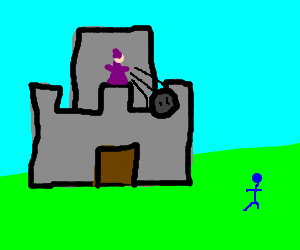 mage in castle throws rock to a blue man