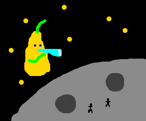 pear looking for people on moon
