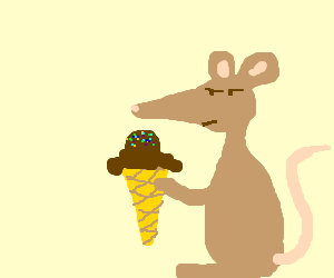 Skeptical mouse with ice cream cone