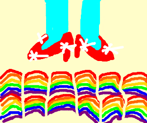 Ruby, red slippers over 12 rainbows.