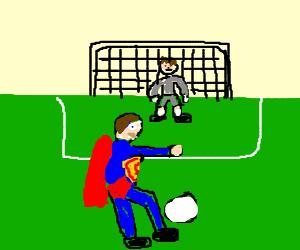 Superman plays soccer