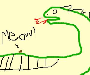 Flea meows on dragon's stomach