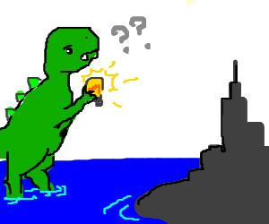 befuddled godzilla changes a lightbulb
