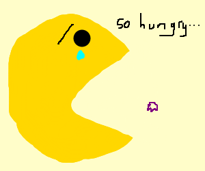 Giant Pac Man hungry for little ghost