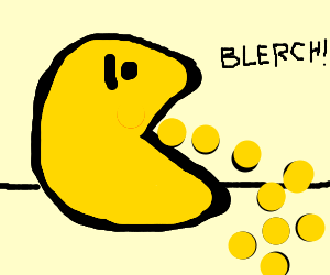 Pacman vomits up dots