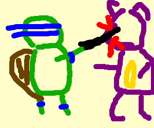 Leonardo stabs barney in the head