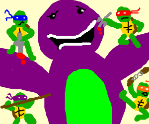 Barney aggro'd by tiny ninja turtles