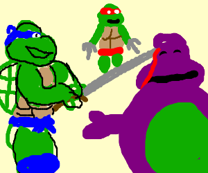 The Mutant Turtles Stab Barney's Head!