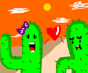 2 cacti in love