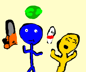 Mr blue makes juggling with yellow peopl