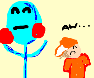 Blue man beats kid by juggling stuff