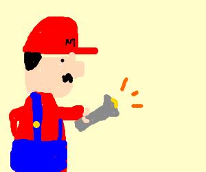 mario uses his Flash-Light