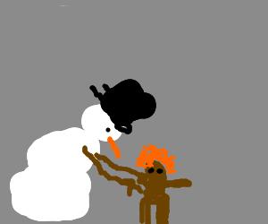 Snowman Makes a Carrot-Top Mudman