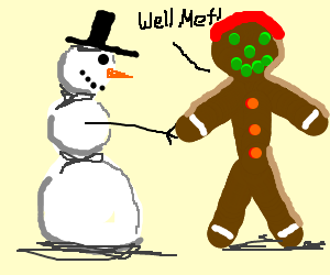 Snowman meeting ginger gingerbread man