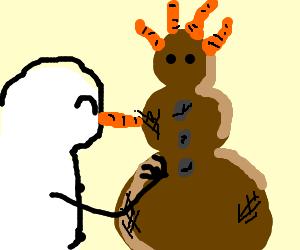 snow man makes a dirtperson, cartothair