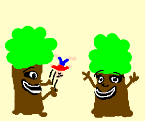 Happy trees tossing person through air.