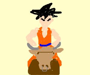 Goku rides a bull