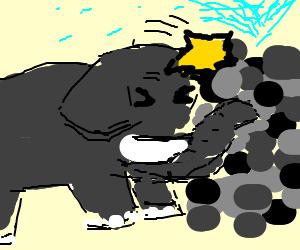 Elephant headbutts cobblestone fountain