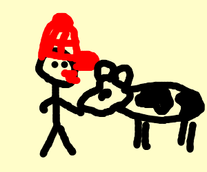 Redneck makes out with cow
