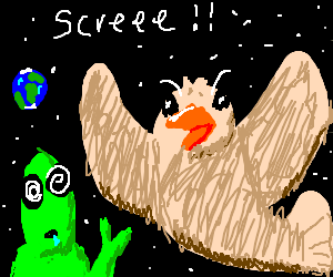 alien mesmerized by giant space pigeon