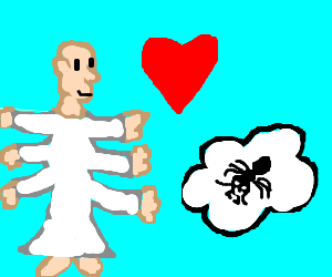Six-armed angel loves ant on a cloud