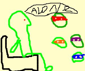 Forever alone alien watch ninja turtles