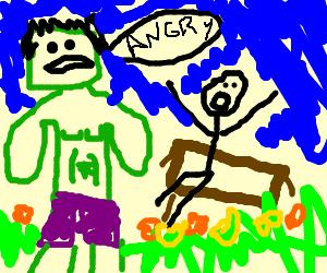 The Hulk frightening a man on a bench