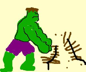 Hulk smash park bench