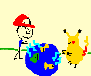 Ash and pikachu fishing with lightening