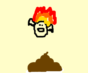 A flaming face Flying over floating poop