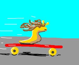 fat skate boarding good haired slug